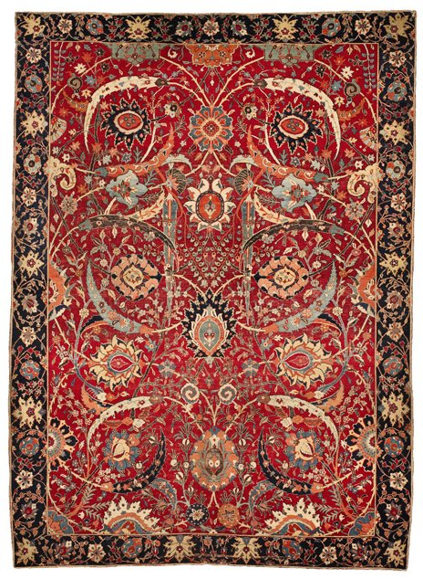 The_Clark_'Sickle-Leaf',_vine_scroll_and_palmette_carpet,_probably_Kirman,_17th_century